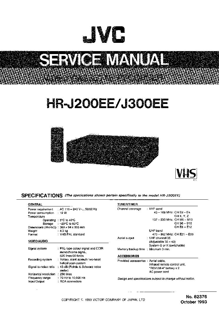 JVC HR-J200EE HR-J300EE Service Manual download