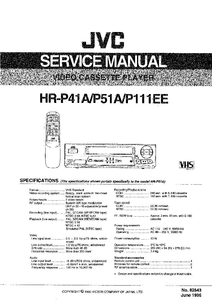 JVC HR-DVS3 EK EU Service Manual download, schematics