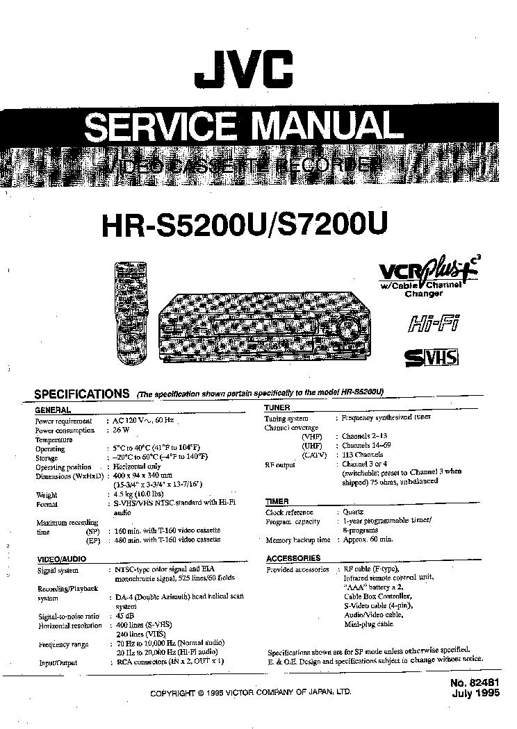 JVC HR-S5200U S7200U SM Service Manual download