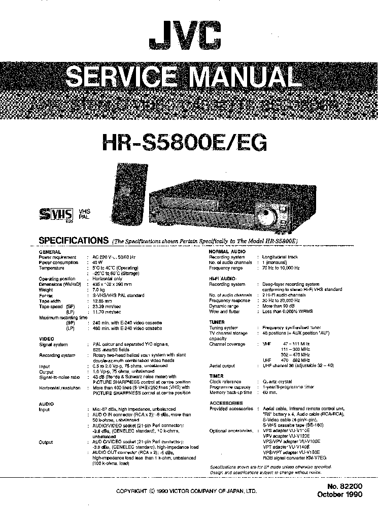 JVC HR-S5800E HR-S5800EG VCR Service Manual download