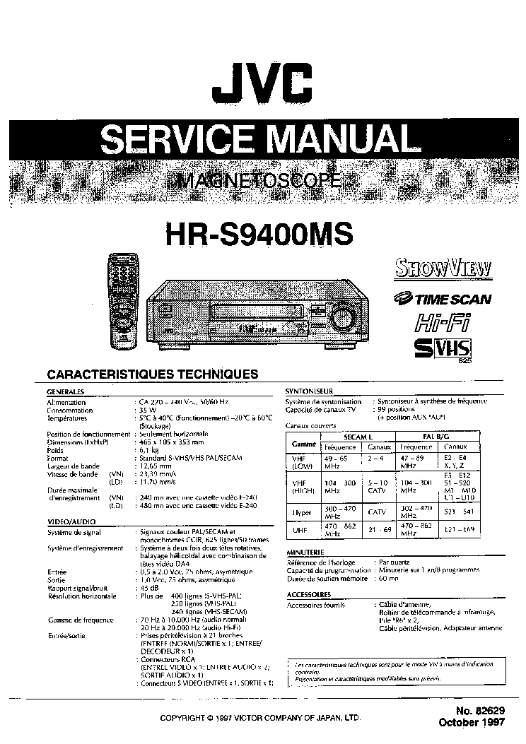 JVC HR-S9400MS SM Service Manual free download, schematics