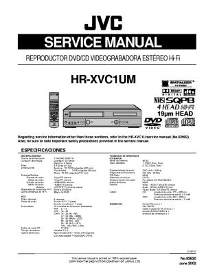 JVC HRXVC1UM DVDVCR Service Manual download, schematics
