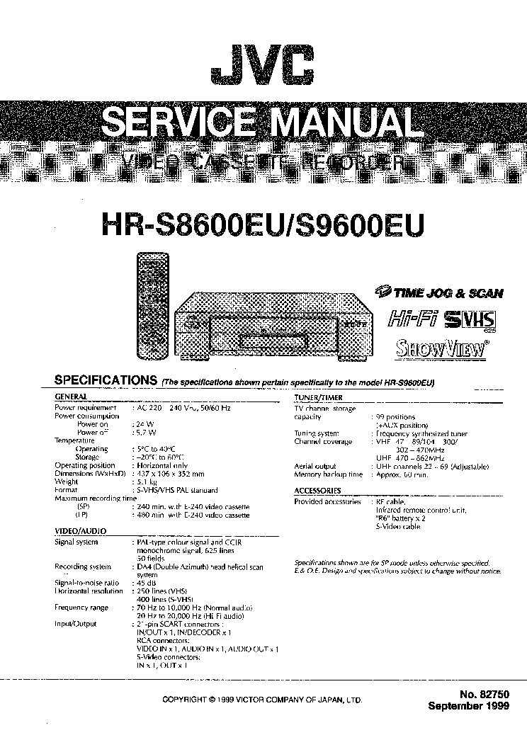 JVC HR S8600 S9600 Service Manual download, schematics