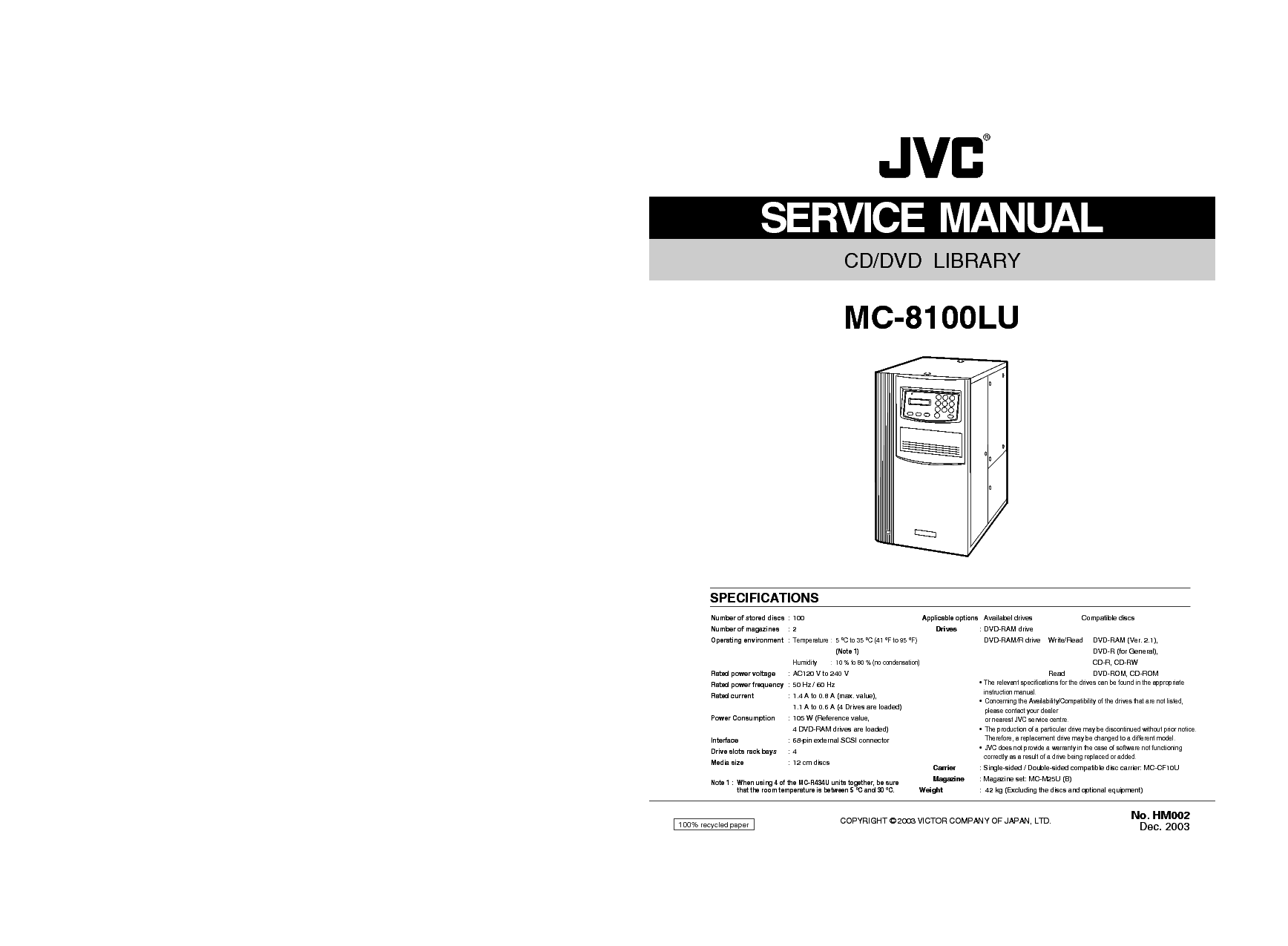 JVC MC-8100LU CD-DVD LIBRARY SM Service Manual download