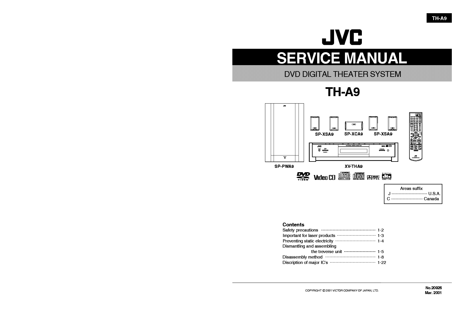 JVC TH-A9 Service Manual download, schematics, eeprom