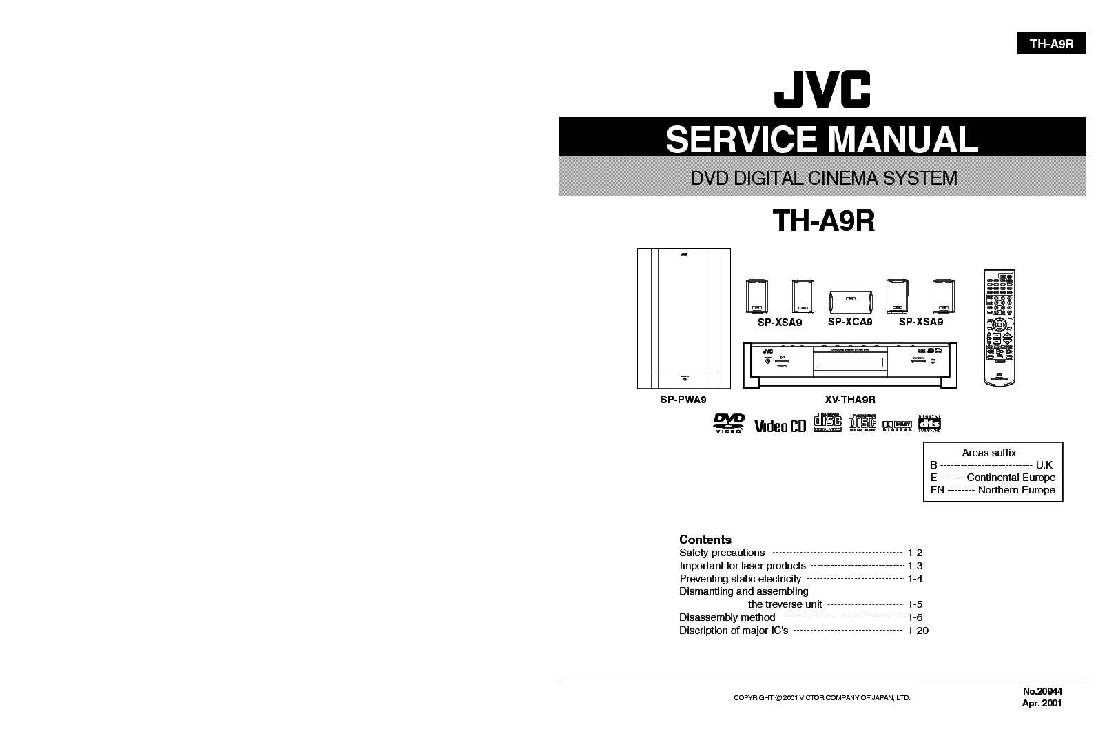 JVC TH-A9R SM Service Manual download, schematics, eeprom