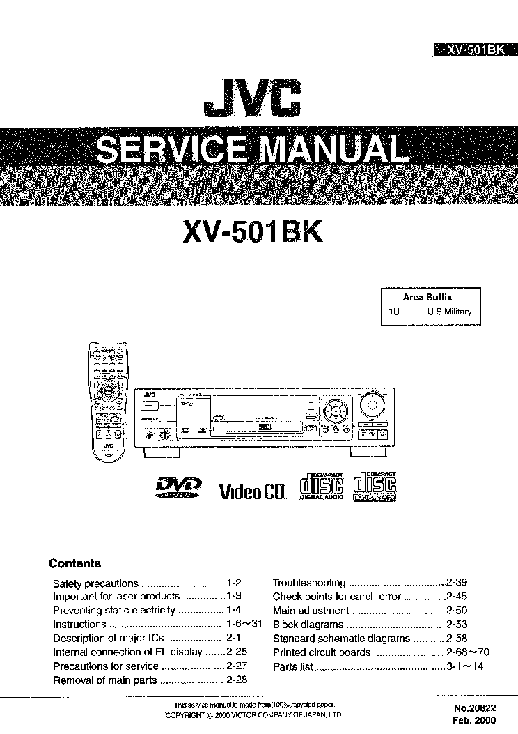 JVC XV-501BK Service Manual download, schematics, eeprom