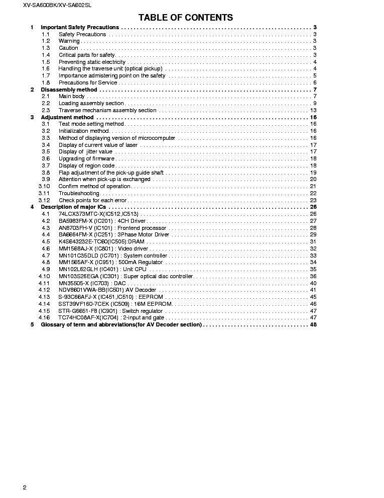 JVC XV-SA600BK XV-SA602SL DVD PLAYER Service Manual