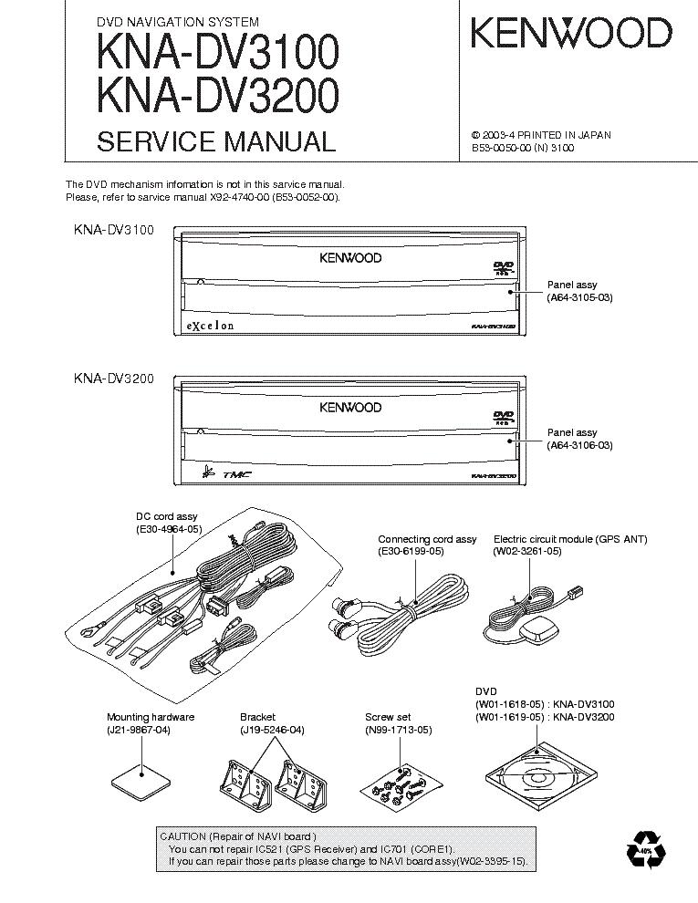 KENWOOD KNA-DV3100 DV3200 Service Manual download