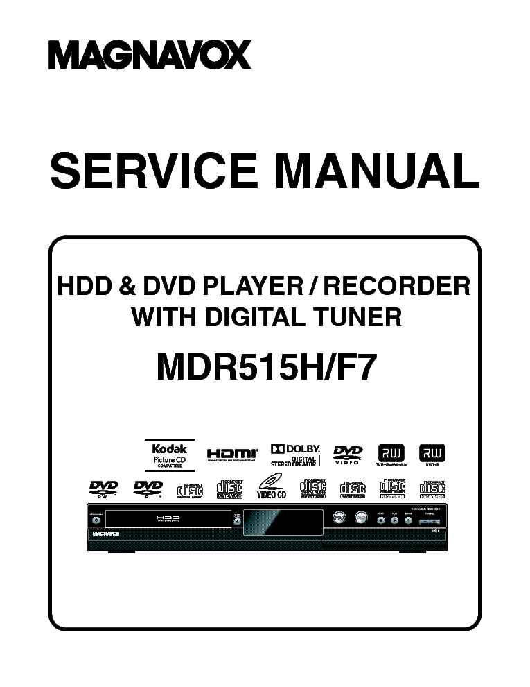 MAGNAVOX MWR20V6 DVD-VCR RECORDER Service Manual download