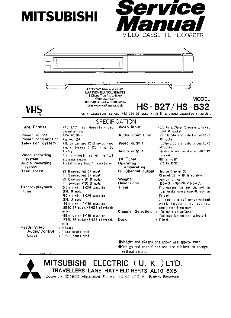 MITSUBISHI HS-761V SM Service Manual download, schematics