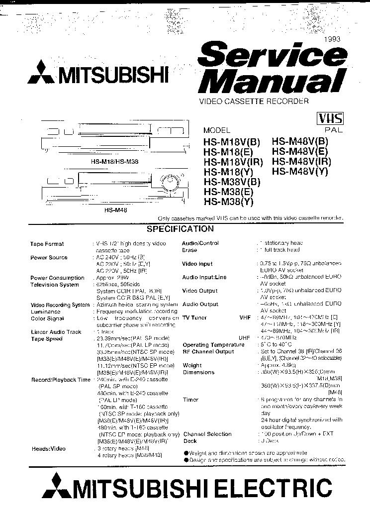 MITSUBISHI HS-M18 HS-M38 HS-M48V SM Service Manual