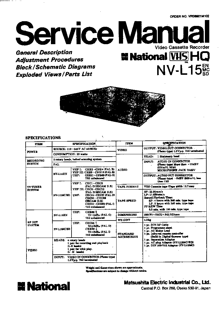 NATIONAL MATSUSHITA TE-95 AUDIO-VIDEO PROGRAMMER Service