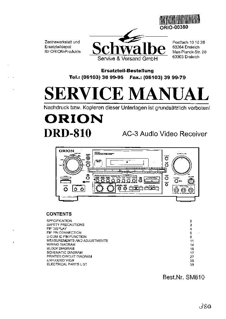 ORION DRD-810 AC-3 AV RECEIVER Service Manual download