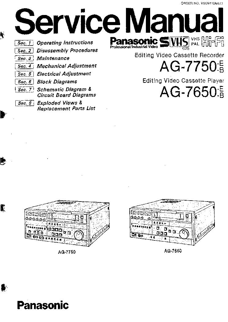 PANASONIC AG-7650 AG-7750 Service Manual download