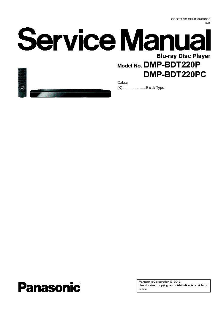 PANASONIC DMP-BDT220PC Service Manual download, schematics