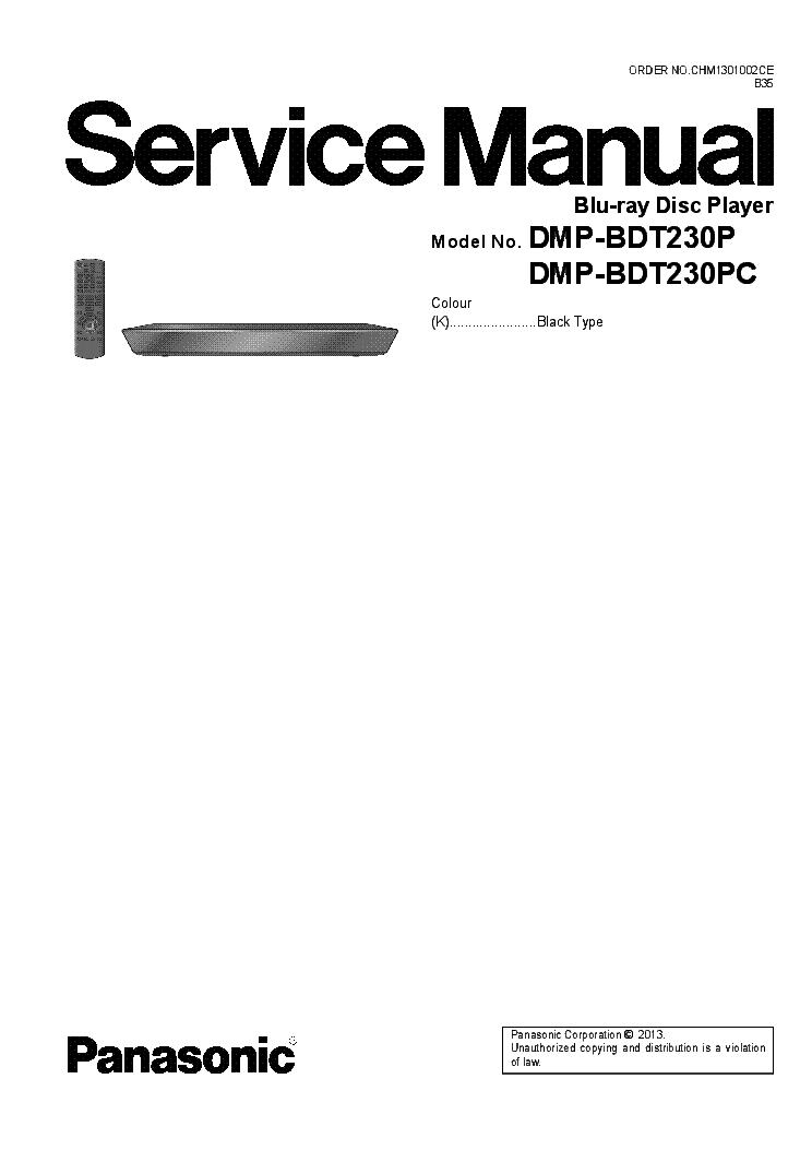 PANASONIC DMP-BDT230 P,PC Service Manual download