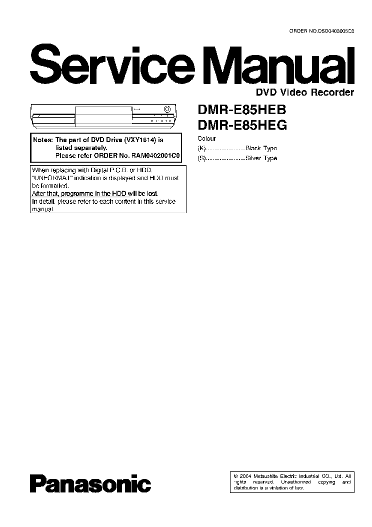PANASONIC DMR-E85HEB DMR-E85HEG Service Manual download