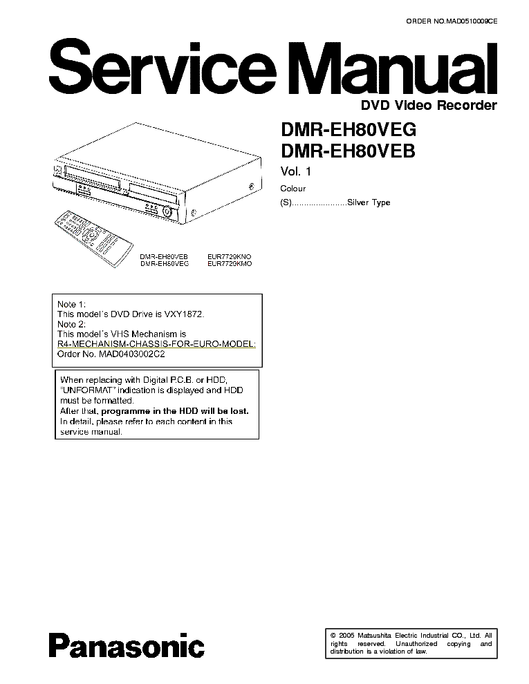 PANASONIC DMR-EH80VEG Service Manual download, schematics
