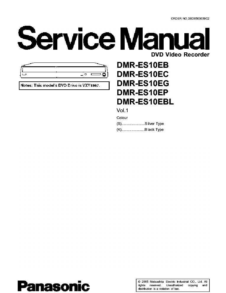 PANASONIC DMR-ES10 Service Manual download, schematics