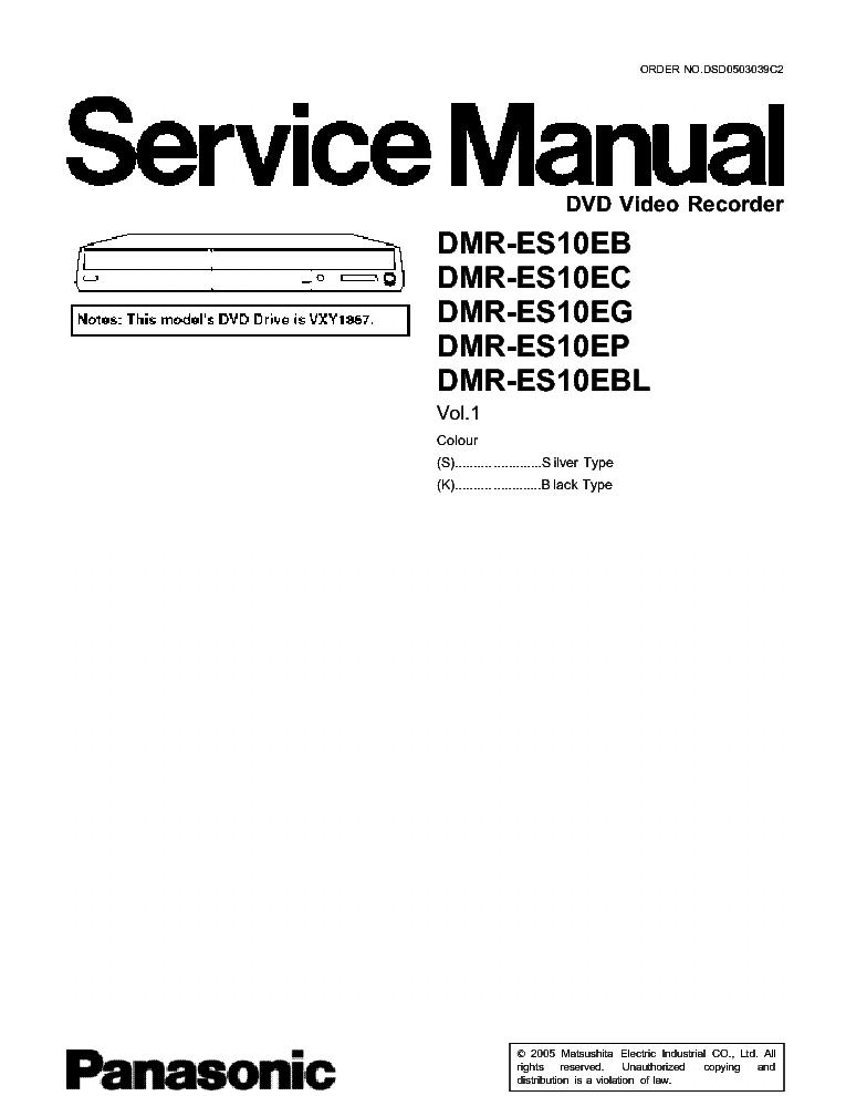 PANASONIC DMR-ES10 Service Manual download, schematics, eeprom, repair info for electronics experts