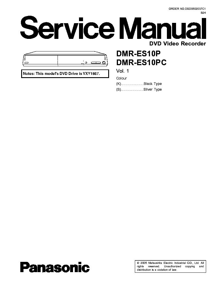 PANASONIC DMR-ES10P PC Service Manual download, schematics