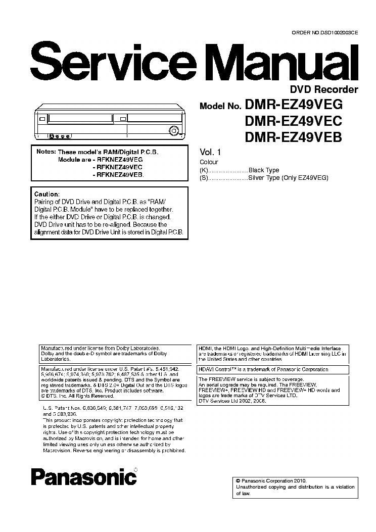 PANASONIC DMR-EZ49VEG-C-B DVD-REC SM Service Manual download, schematics, eeprom, repair info