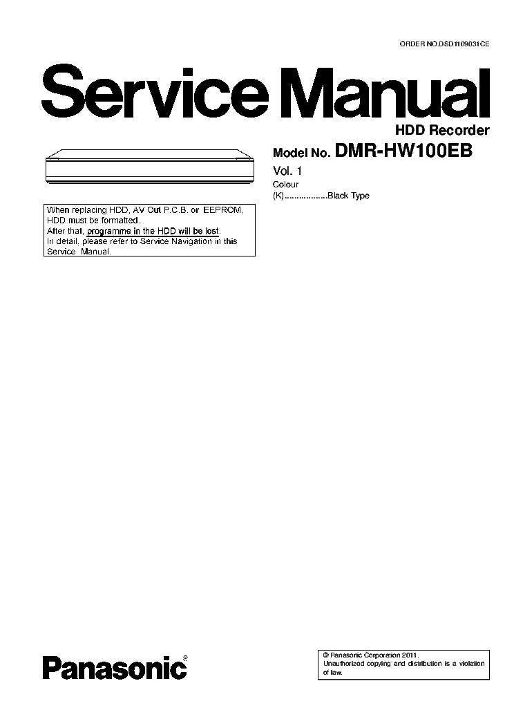 PANASONIC DMR-HW100EB VOL.1 Service Manual download