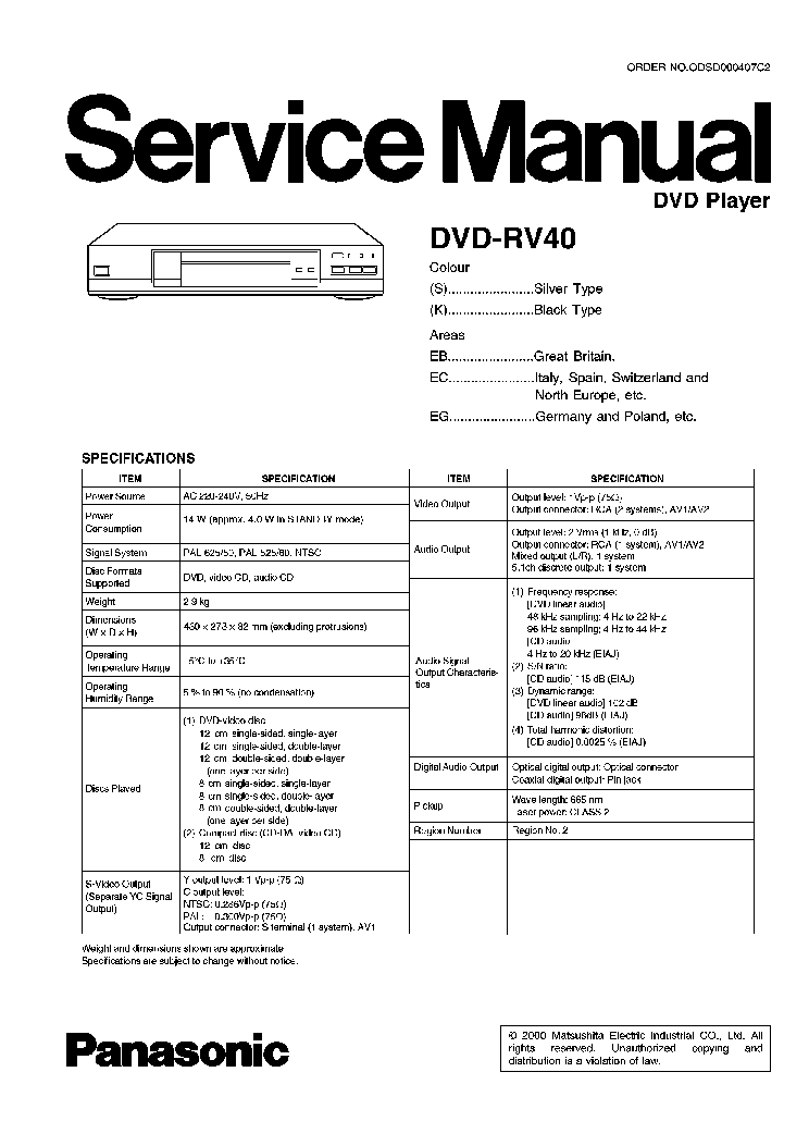 PANASONIC SA-PT170PH Service Manual download, schematics