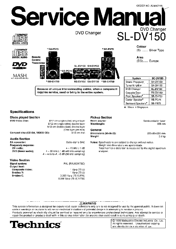 PANASONIC DVD-SLDV150 Service Manual download, schematics