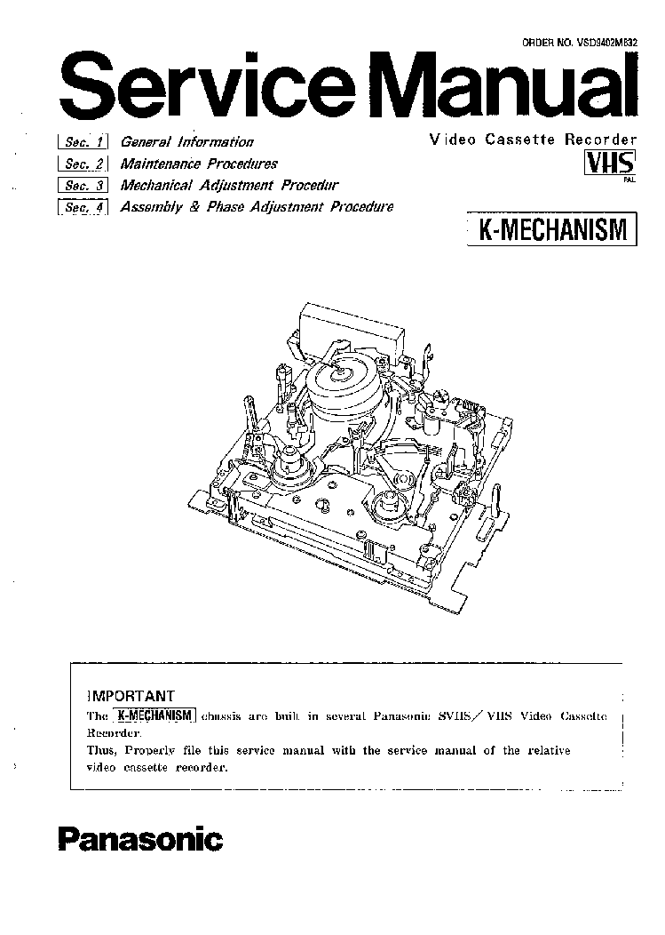 PANASONIC K MECHANIKA SM Service Manual download