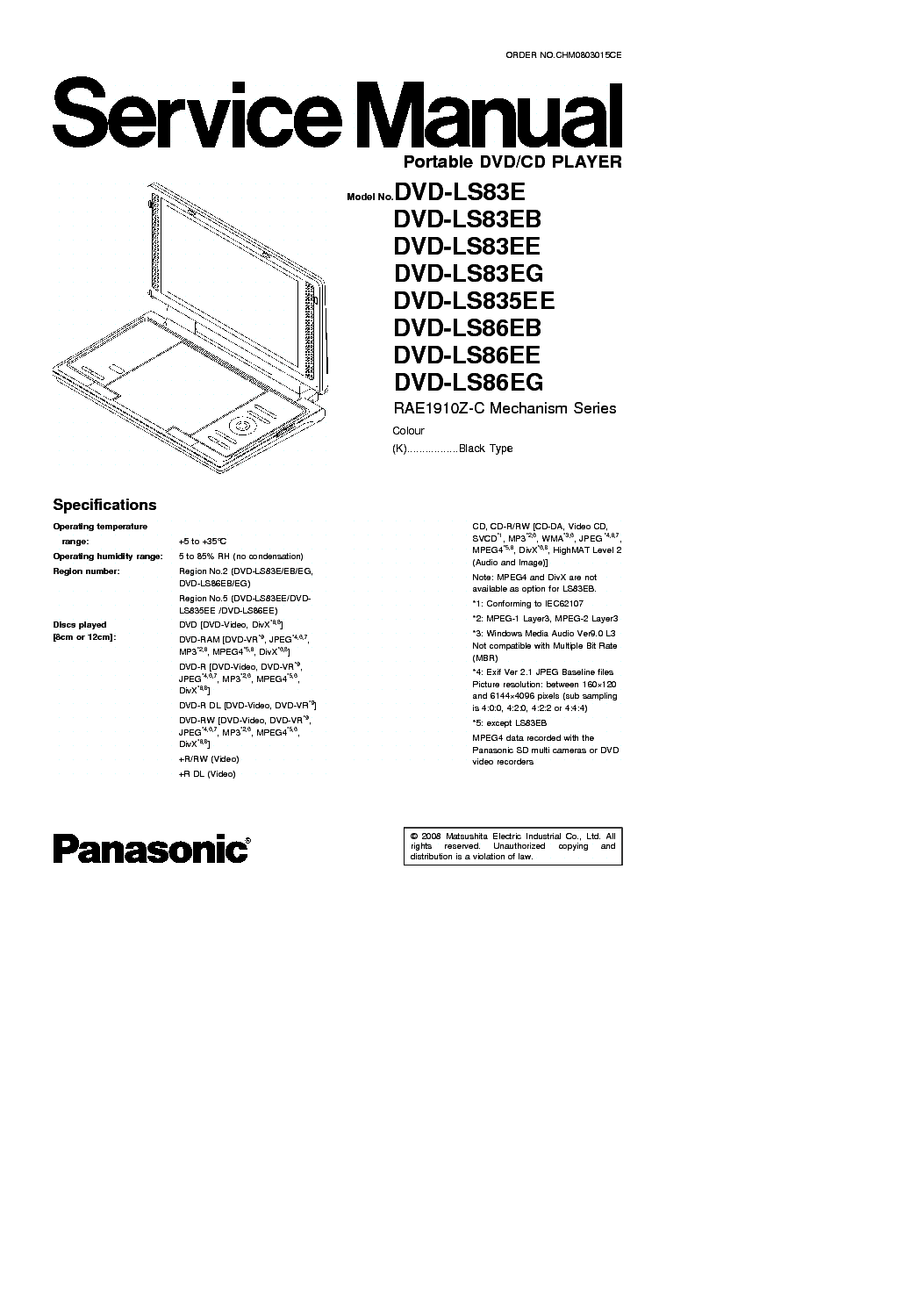 PANASONIC LS83,835,86 PORTABLE DVD Service Manual download