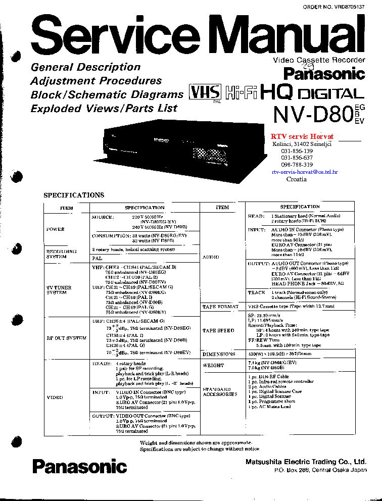 PANASONIC NV-D80 Service Manual download, schematics