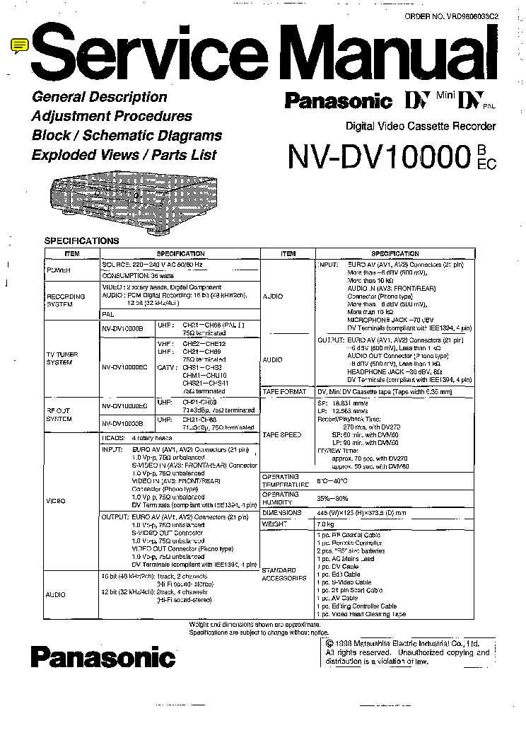 PANASONIC NV-DV10000 SM Service Manual download