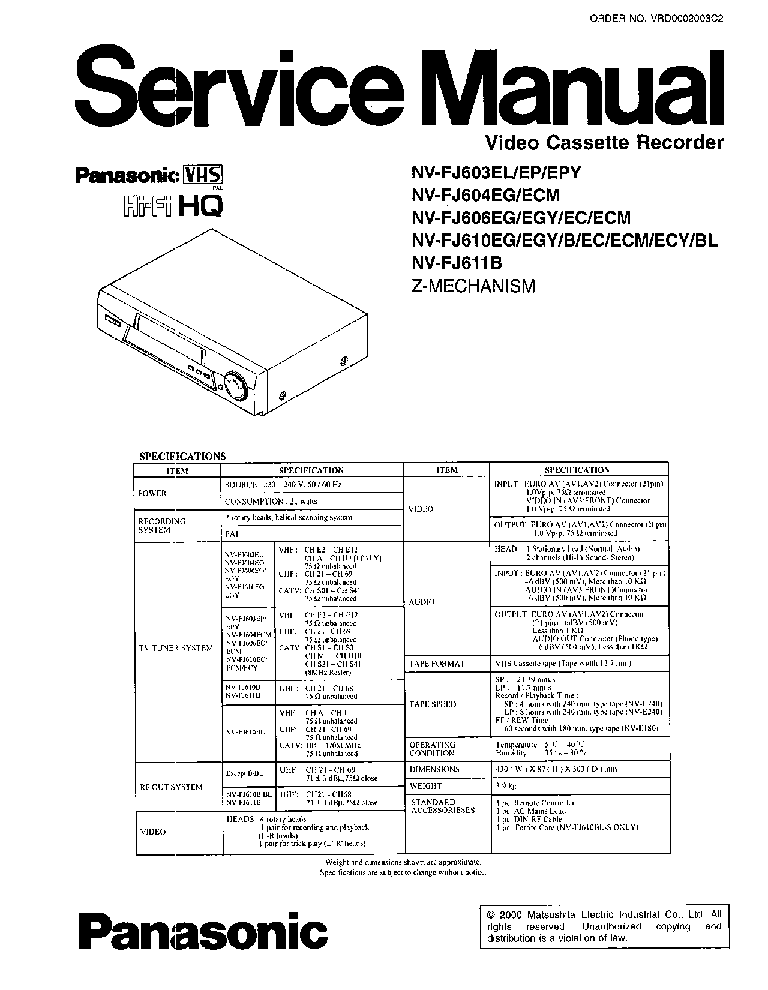PANASONIC NV-FJ610B Service Manual download, schematics