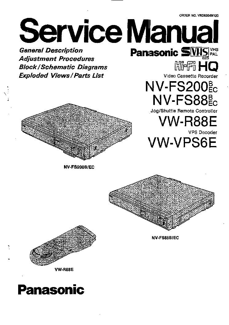 PANASONIC NV-FS88B-EC FS200B-EC Service Manual download
