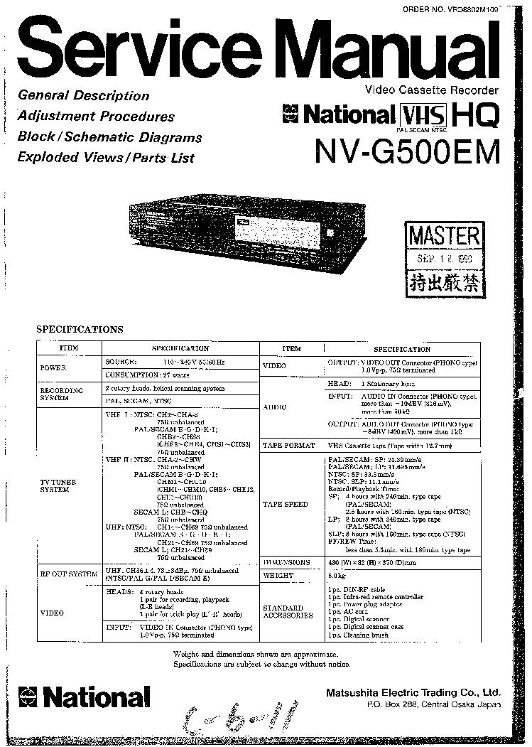 PANASONIC NV-G500EM VCR Service Manual download