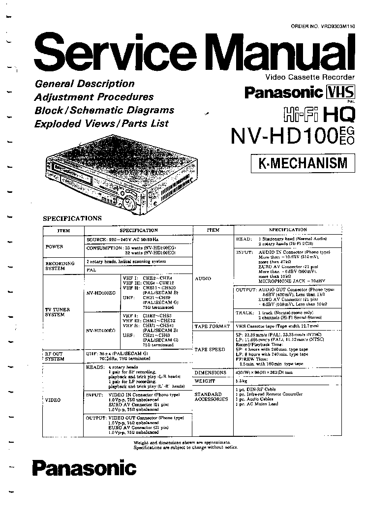 PANASONIC NV-HD100-EG-EO SM Service Manual download