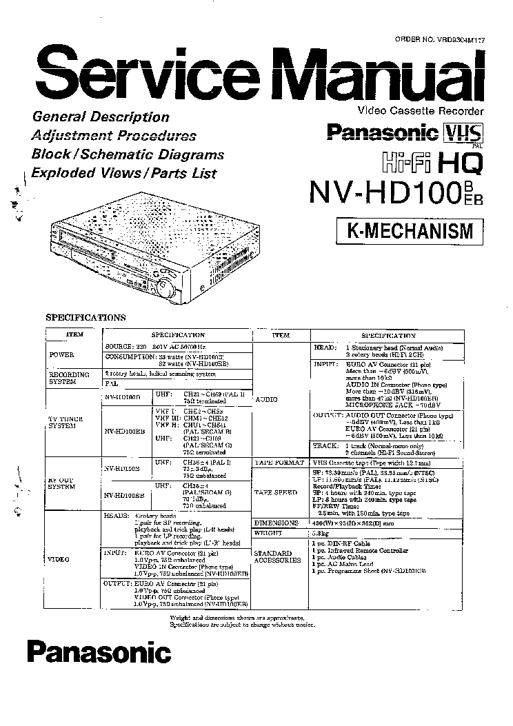 PANASONIC NV-HD100 Service Manual download, schematics