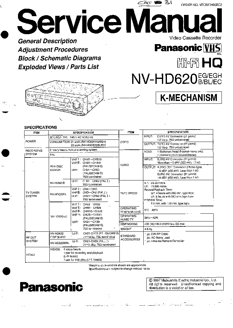PANASONIC NV-HD620 K-MECH Service Manual download