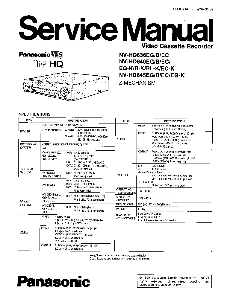 PANASONIC NV-HD636 640 645 Service Manual download