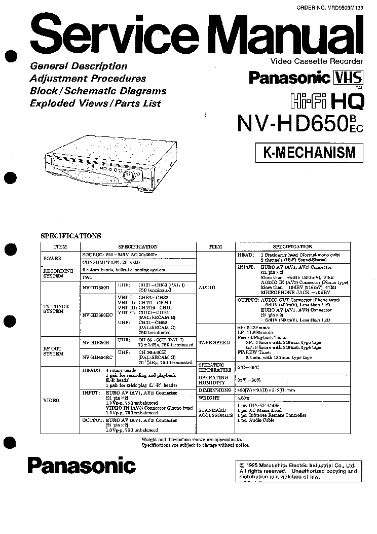 PANASONIC NV-HD650 Service Manual download, schematics