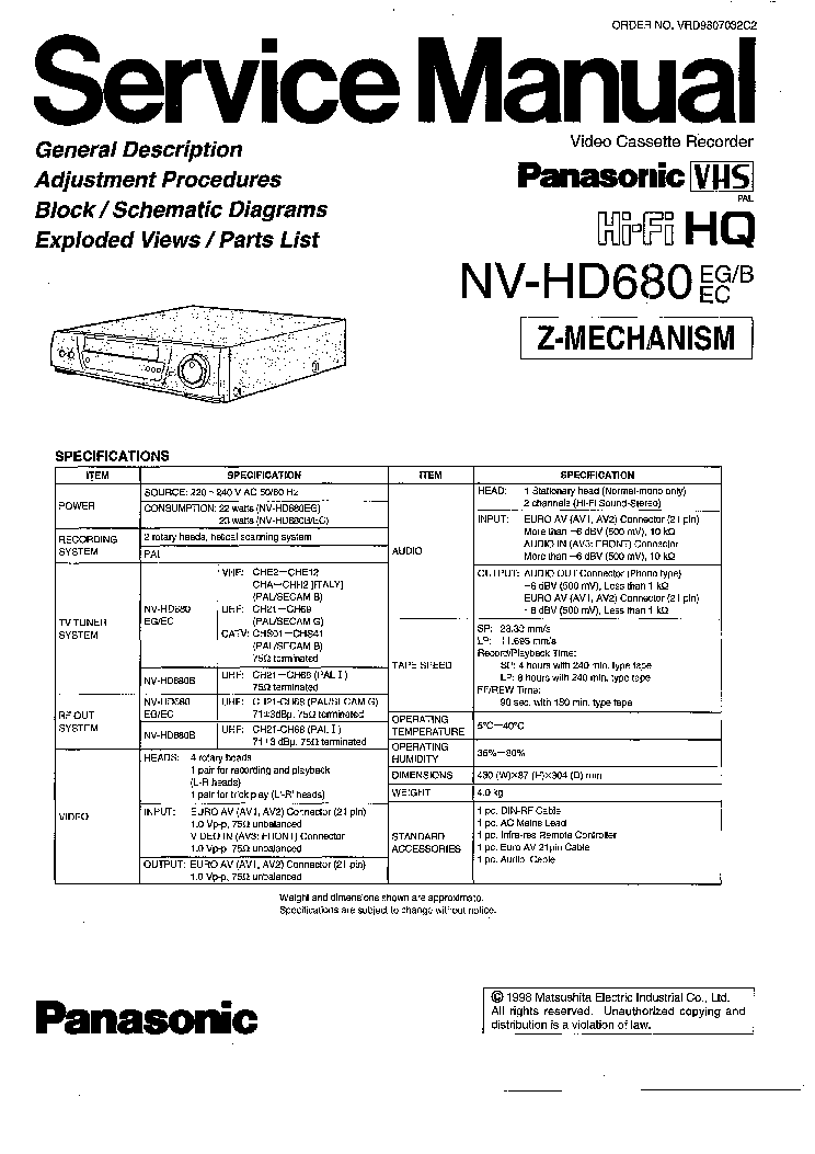 PANASONIC NV-HD680 SM Service Manual download, schematics
