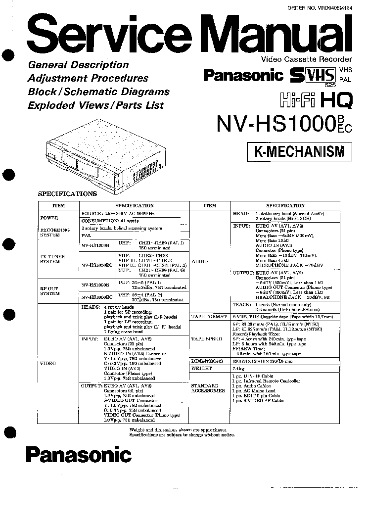 PANASONIC NV-HS1000B Service Manual download, schematics