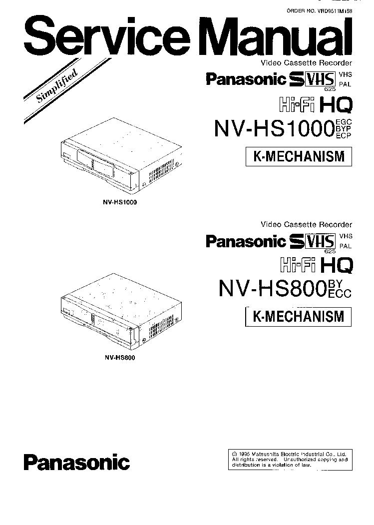 PANASONIC NV-HS1000EGC,BYP,ECP NV-HS800 K-MECHANISM