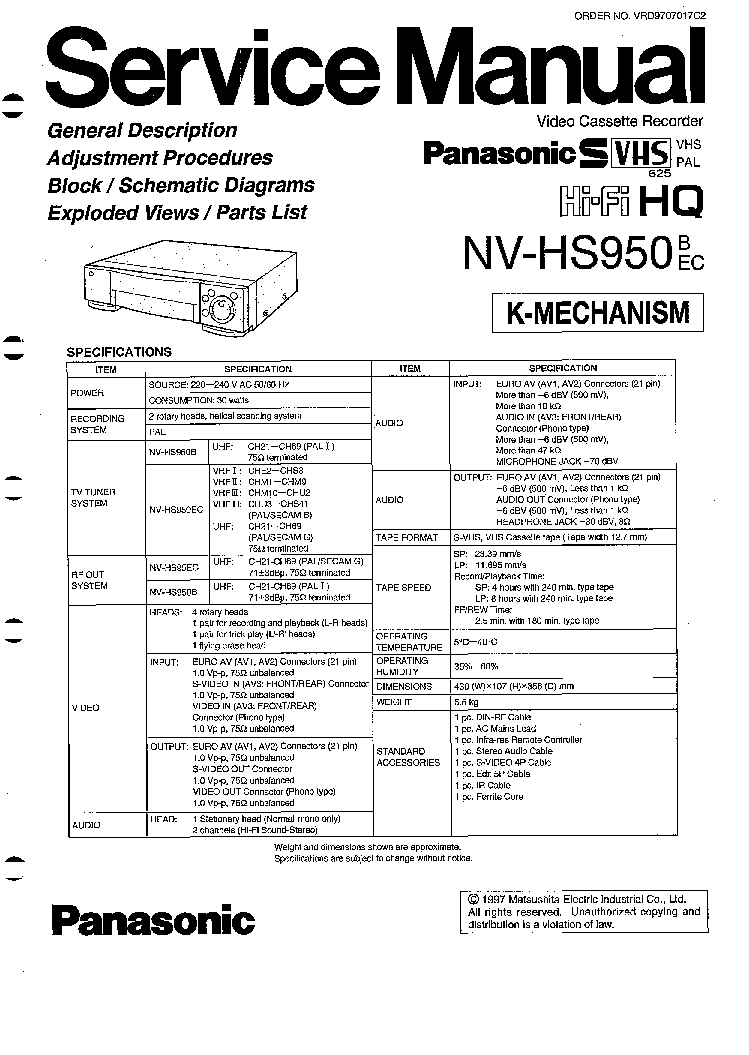 PANASONIC NV-HS950 SM Service Manual download, schematics