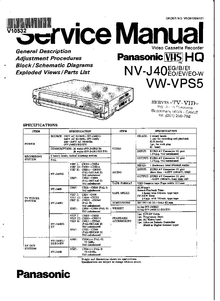 PANASONIC NV-J-40 SM Service Manual download, schematics