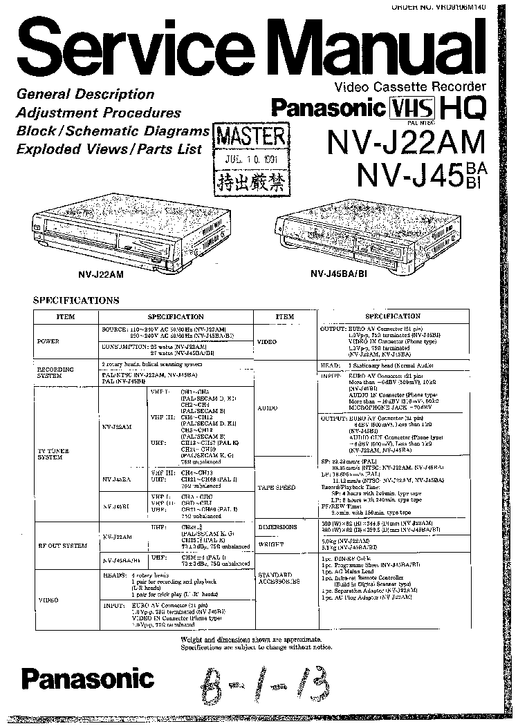 PANASONIC NV-J22AM NV-J45 Service Manual download