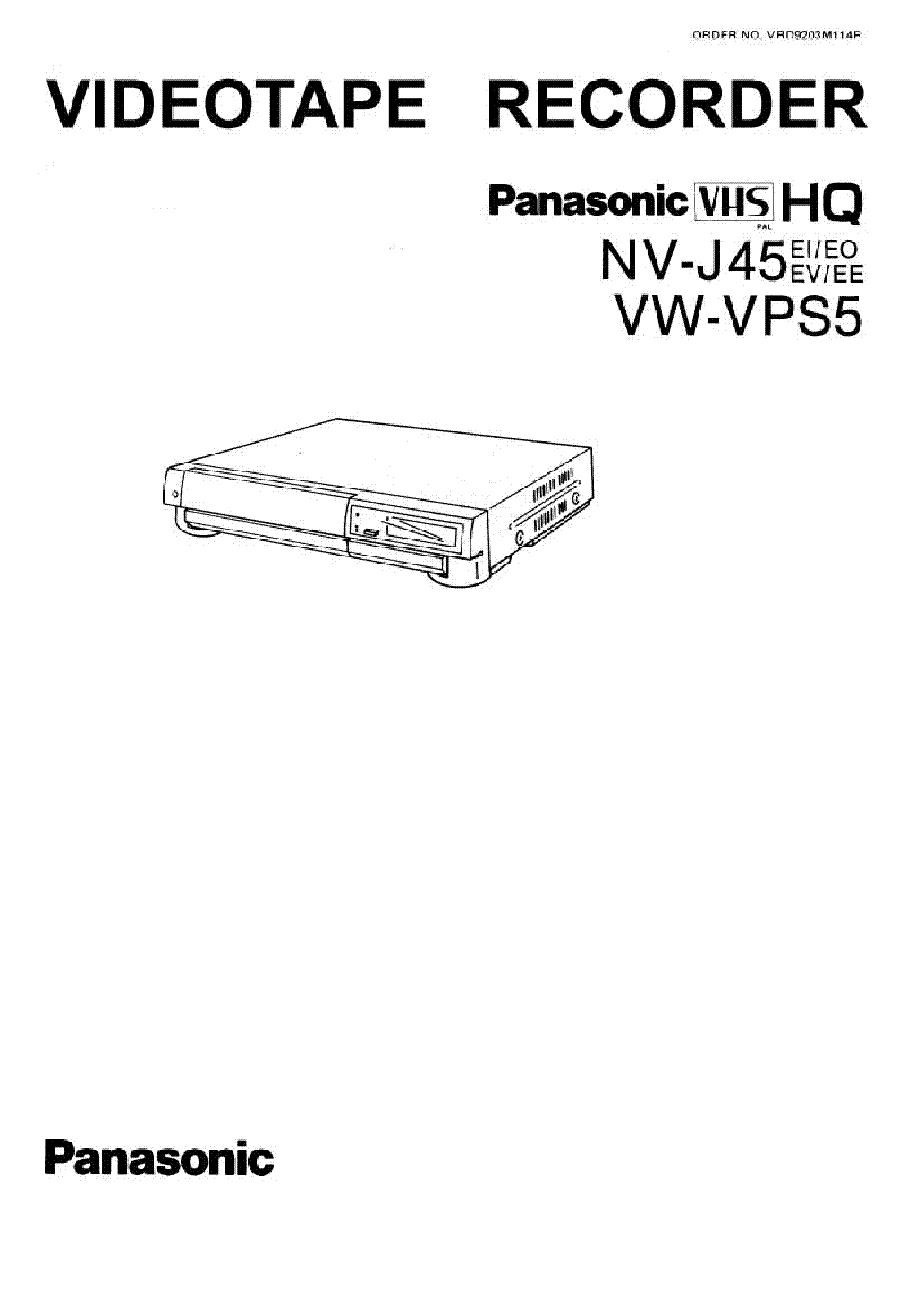 PANASONIC NV-J45 Service Manual download, schematics