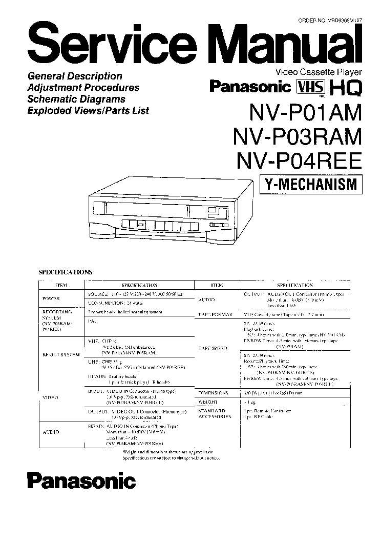 PANASONIC NV-SD300 Service Manual download, schematics